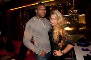 Alistair Overeem and fiancee Zelina Bexander at DJ Kaskade's New Year's Eve party at Marquee in the Cosmopolitan on Dec. 31, 2011.