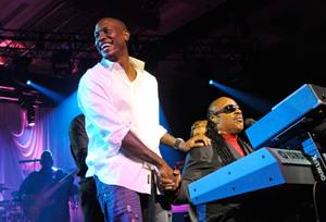 Tyrese Gibson and Stevie Wonder perform a New Year's Eve concert at Chelsea Ballroom in the Cosmopolitan on Dec. 31, 2011.