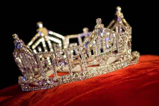 The Miss America crown sits atop a pedestal at The Planet Hollywood Resort and Casino, Thursday Jan. 5, 2012.