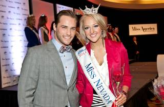 The 2012 Miss America Pageant contestants arrive at Planet Hollywood on Jan. 5, 2012. Josh Strickland and Miss Nevada Alana Lee are pictured here.