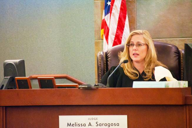 Justice of the Peace Melissa Saragosa presides during a hearing regarding the sentencing of boxer Floyd Mayweather Jr. on Friday, Jan. 6, 2012.
