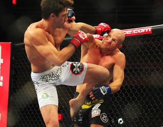 Middleweight champion Luke Rockhold and Keith Jardine trade blows during their match at Saturday, Jan. 7, 2012 at the Hard Rock. Rockhold retained his belt with a first round TKO.