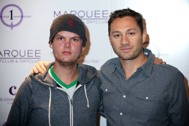 DJ Avicii and Jason Strauss at the first anniversary of Marquee on Jan. 2, 2012.