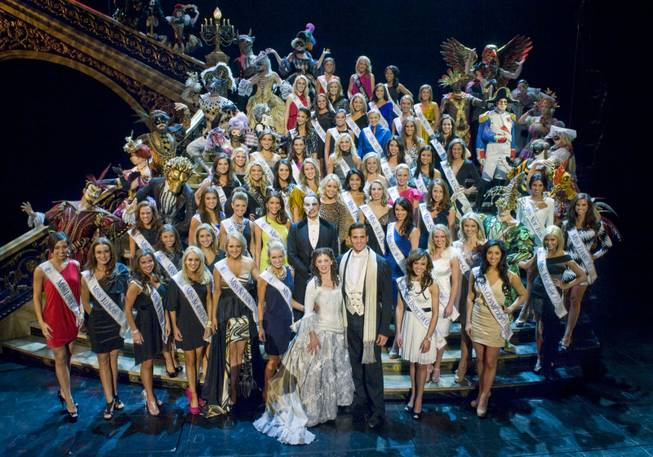 "The 2012 Miss America Pageant contestants at ""Phantom -- the Las Vegas Spectacular"" at the Venetian."