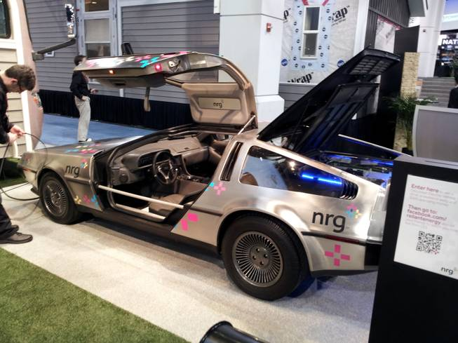 nrg is showcasing an electric DeLorean.  The new DeLorean Electric Vehicle boasts speeds of 0-60 mph in 4.9 seconds, and a range of just over 100 miles of city driving on a single 3.5 hour charge.
