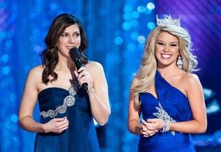 Third-night preliminary competition in the 2012 Miss America Pageant at Planet Hollywood on Jan. 12, 2012, which also included a Judge of the Year contest won by Mark Ballas. Deena Blizzard and 2011 Miss America Teresa Scanlan are pictured here.