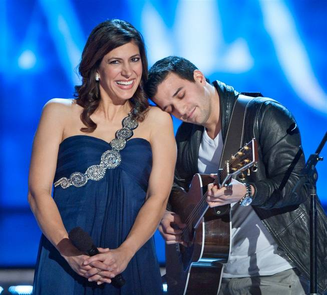 Third-night preliminary competition in the 2012 Miss America Pageant at Planet Hollywood on Jan. 12, 2012, which also included a Judge of the Year contest won by Mark Ballas. Deena Blizzard and Mark Ballas are pictured here.