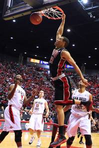UNLV forward Chace Stanback dunks on San Diego State during their game Saturday, Jan. 14, 2012 at Viejas Arena in San Diego. San Diego State won the Mountain West Conference opener 69-67.