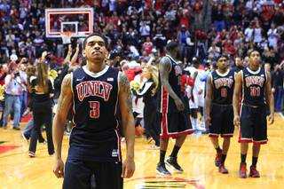 UNLV guard Anthony Marshall heads off the court after the Rebels dropped their Mountain West Conference opener to San Diego State 69-67 Saturday, Jan. 14, 2012 at Viejas Arena in San Diego.