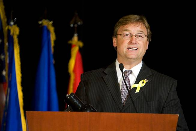 U.S. Senator Dean Heller (R-NV) speaks during a welcome home ceremony for the 422nd Expeditionary Signal Battalion at the Mandalay Bay Sunday, January 15, 2012. The Army National Guard soldiers entered field service on January 7, 2011 and have been serving in Afghanistan since March 28, 2011.