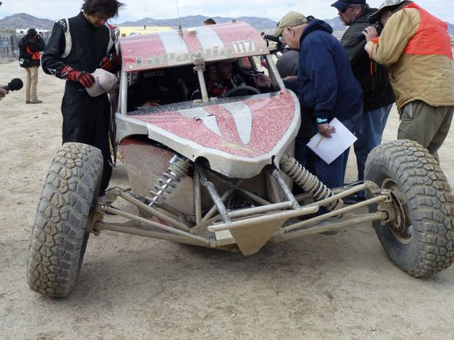 Michael LaPaglia, who won in Sunday's Class 10 division, limped across the finish line with a damaged suspension.