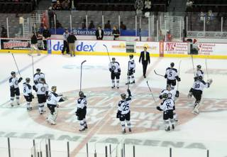 Wranglers players salute the fans at center ice after defeating the Colorado Eagles 5-1 Monday afternoon, Jan. 16, at the Orleans Arena.