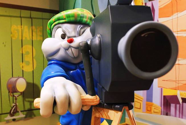 Bugs Bunny as a cinematographer is seen during the grand opening of the Chuck Jones Experience at Circus Circus Thursday, Jan. 19, 2012.