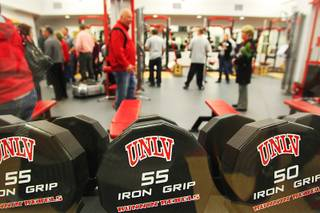 The Joel Anthony weight room is seen during the grand opening of UNLV's new basketball practice facility, the $11.7 million Mendenhall Center, Thursday, Jan. 19, 2012.