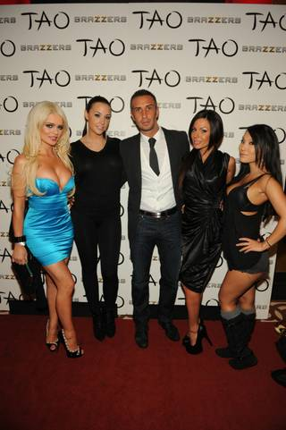 Brazzers stars Alexis Price, Chanel Preston, Keiran Lee, Kirsten Price and Asa Akira at Tao in the Venetian on Thursday, Jan. 19, 2012.
