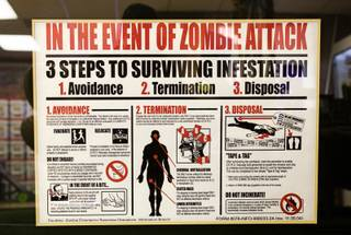 An informational poster is displayed in the Zombie Apocalypse Store, 3420 Spring Mountain Rd., Tuesday, Jan. 24, 2012. The store, which opened last November, sells survival gear, ammunition and Zombie-themed products.