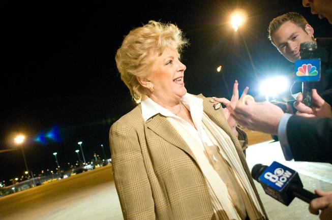 Las Vegas Mayor Carolyn Goodman speaks to reporters after greeting President Obama upon his arrival to Las Vegas at McCarran International Airport Wednesday, Jan. 25, 2012.