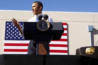 President Barack Obama speaks at a UPS facility in Las Vegas Thursday, Jan. 26, 2012.