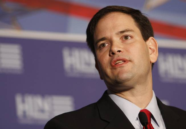Sen. Marco Rubio, R-Fla., talks to guests Jan. 27, 2012, during the Hispanic Leadership Network in Miami.