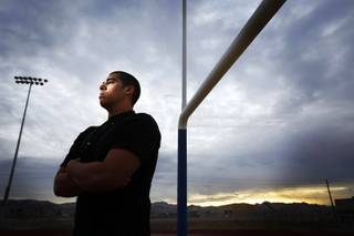 UNLV football recruit and Basic High School senior J'Ondray Sanders, 18, at Basic High School in Henderson on Tuesday, Jan. 31, 2012.