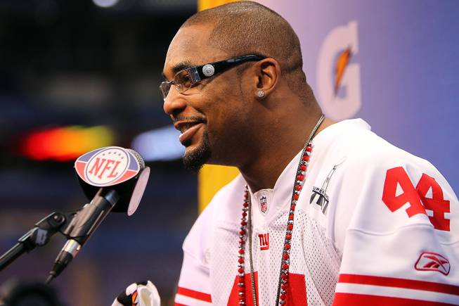 New York Giants running back Ahmad Bradshaw talks to to the media at Super Bowl 46 Media Day in Indianapolis.
