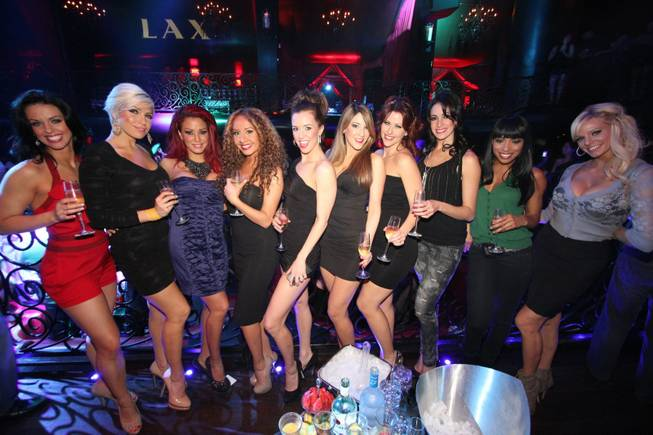 "The cast of ""Fantasy"" at the Luxor celebrates 12 years on the Strip with a night out at nearby LAX."