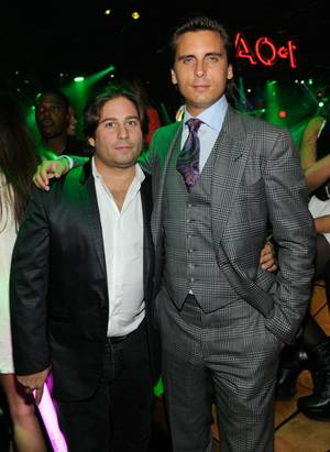 Scott Disick, right, at the official grand-opening weekend of 1 OAK in the Mirage on Saturday, Jan. 28, 2012.