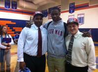 Bishop Gorman High School seniors, from left, Ron Scoggins Jr., Demitrius Morant and Marc Philippi on national signing day Feb. 1, 2012. Scoggins and Philippi signed with UNLV, where Morant inked in the fall 2011 to play basketball.