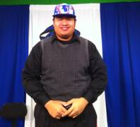 Desert Pines High School's Allen Vaiao after signing with the University of Mary Feb. 1, 2012.