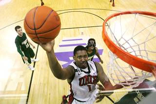 UNLV forward Quintrell Thomas drives in for a layup against Colorado State during their Mountain West Conference game Wednesday, Feb. 1, 2012 at the Thomas & Mack Center. UNLV won the game 82-63.