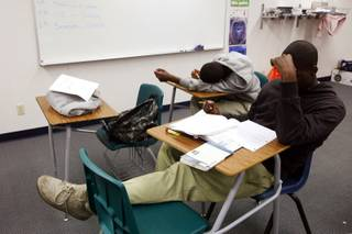 Students study in the StarOn classroom at Mojave High School in North Las Vegas on Feb. 2, 2012.