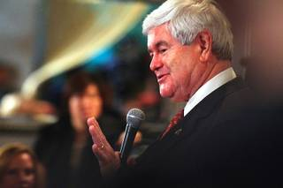 Republican presidential candidate Newt Gingrich speaks at a town hall-style meeting with business and community leaders from the Las Vegas Latino community Thursday, Feb. 2, 2012.