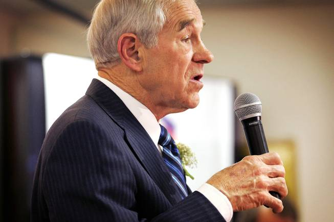 Rep. Ron Paul speaks at a rally for Philippine-American veterans at the Leatherneck Club in Las Vegas Friday, Feb. 3, 2012.