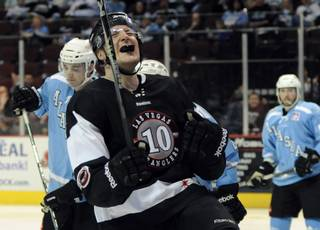 Geoff Paukovich celebrates after scoring a game-tying goal in the second period against the Alaska Aces on Friday night.