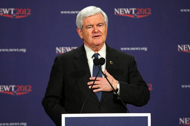 Republican presidential candidate and former Speaker of the House Newt Gingrich speaks during a news conference after the Nevada caucus at the Venetian Saturday, February 4, 2012