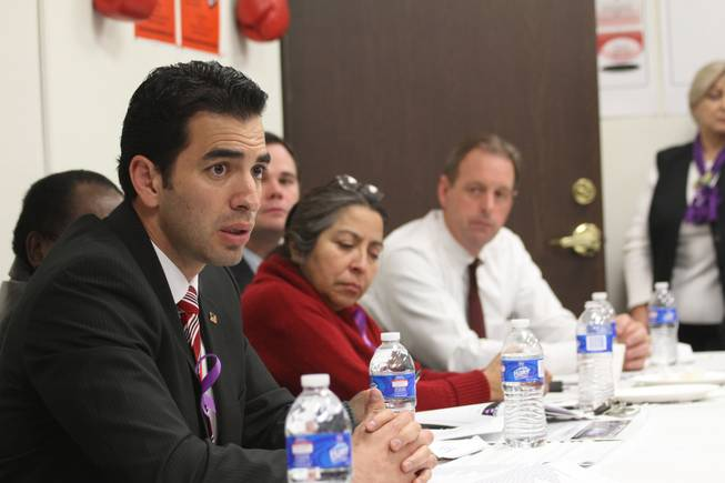 State Sen. Ruben Kihuen speaks at a meeting Jan. 20 in which state legislators met with domestic abuse victims and advocates to discuss tougher laws.