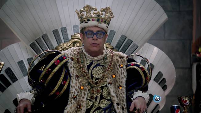 Elton John appears in a 2012 Pepsi Super Bowl commercial.