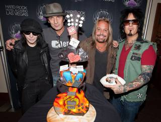 Motley Crue celebrates frontman Vince Neil's 51st birthday at the Joint in the Hard Rock Hotel on Wednesday, Feb. 8, 2012.