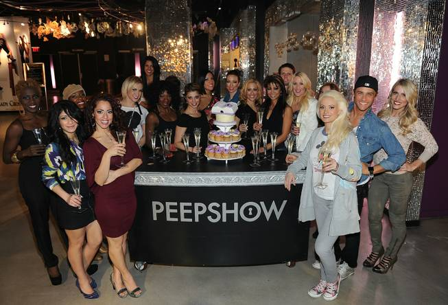 "The cast of ""Peepshow"" at Planet Hollywood celebrates its 1,000th performance on Monday, Feb. 6, 2012."