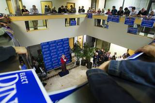 Dina Titus, Democratic candidate for U.S. Congress, speaks during the opening of her campaign headquarters at 3790 Paradise Road Thursday, February 9, 2012. Titus is running for Nevada's 1st Congressional District seat.
