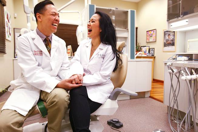 Dr. Sean Su, a medical doctor, and Dr. Suzie Su, a dentist, who share a medical office for their practices, Sexy Vegas Skin and Sexy Vegas Smiles in Las Vegas on Friday, Feb. 10, 2012.