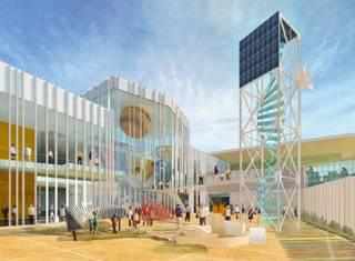 An artist's rendering depicts the outdoor exhibits courtyard at the Henderson Space and Science Center.