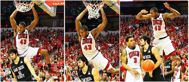 This is a three photo sequence of UNLV forward Mike Moser dunking on San Diego State forward Garrett Green during their Mountain West Conference game Saturday, Feb. 11, 2012 at the Thomas & Mack Center. UNLV won the game 65-63.