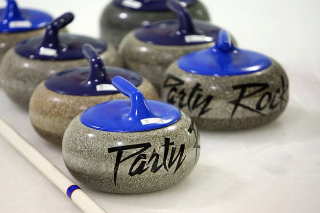 Forty-two pound granite stones are shown at the Las Vegas Ice Center on West Flamingo Road on Feb 12, 2012.