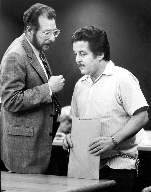 "Defense lawyer Oscar Goodman, left, in court in with Anthony ""Tony the Ant"" Spilotro, the Chicago mob's feared overseer in Las Vegas. Spilotro controlled the crime family's rackets empire here for more than a decade."