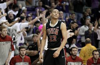 UNLV 's Chace Stanback reacts in the final seconds of overtime in an NCAA college basketball game against TCU on Feb. 14, 2012, in Fort Worth, Texas. Stanback had 17 points in the 102-97 loss to TCU.