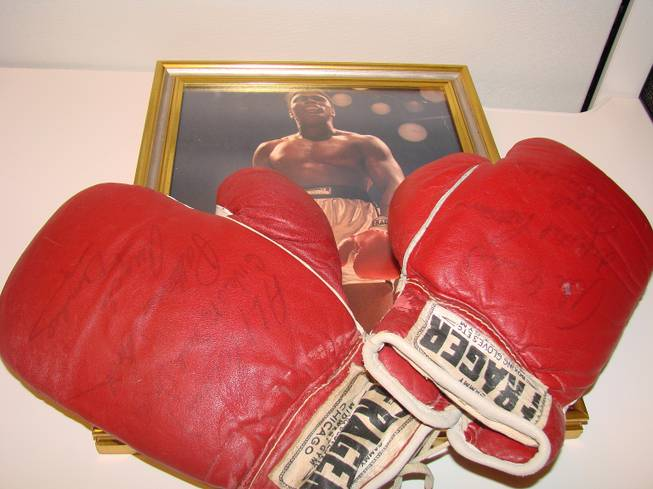 The gloves worn by Muhammad Ali in his TKO victory over Floyd Patterson at the Las Vegas Convention Center in November 1965.