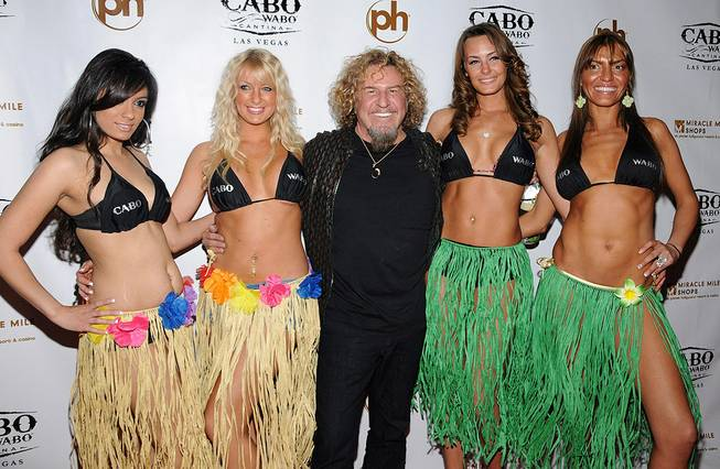 Sammy Hagar launches Sammy's Beach Bar Rum at his Cabo Wabo Cantina in Planet Hollywood's Miracle Mile Shops on Friday, Feb. 17, 2012. Chef Emeril Lagasse was among the guests.