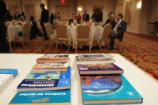 A sampling of some of the 162,000 textbooks to be donated to the Clark County School District by Another Joy Foundation, The Public Education Foundation and the Latin Chamber of Commerce. The donation was announced Friday, Feb. 17, 2012, at the Latin Chamber's monthly luncheon.