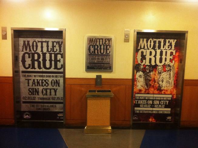 The Hard Rock Hotel's elevator signs are a welcome sight for Motley Crue fans as they enter the property.